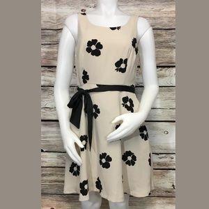LC Lauren Conrad Sz 8 Beige Black Floral Dress
